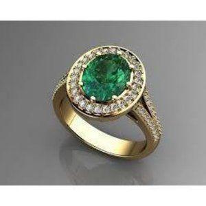 3.5 Ct Oval Cut Green Emerald With Halo Diamond Ri